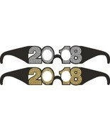 2018 6 Ct Favor Glasses New Years Eve Graduation Black Gold Silver Glitter - $5.39