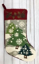 Vtg Wool Needepoint Cabin Pinecones Snowflakes Woodsy Trees Slopes Velve... - $39.40