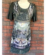 Unique Italian Art Museum Stretch Dress Large Faux Leather Sleeves Scoop... - $9.80