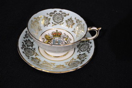 1959 PARAGON Cup&Saucer QUEEN ELIZABETH II ROYAL VISIT TO CANADA Gold/Fl... - £37.05 GBP