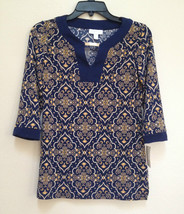 Charter Club Petite Printed Hardware Tunic 11486 Intrepid Blue PP - $15.68