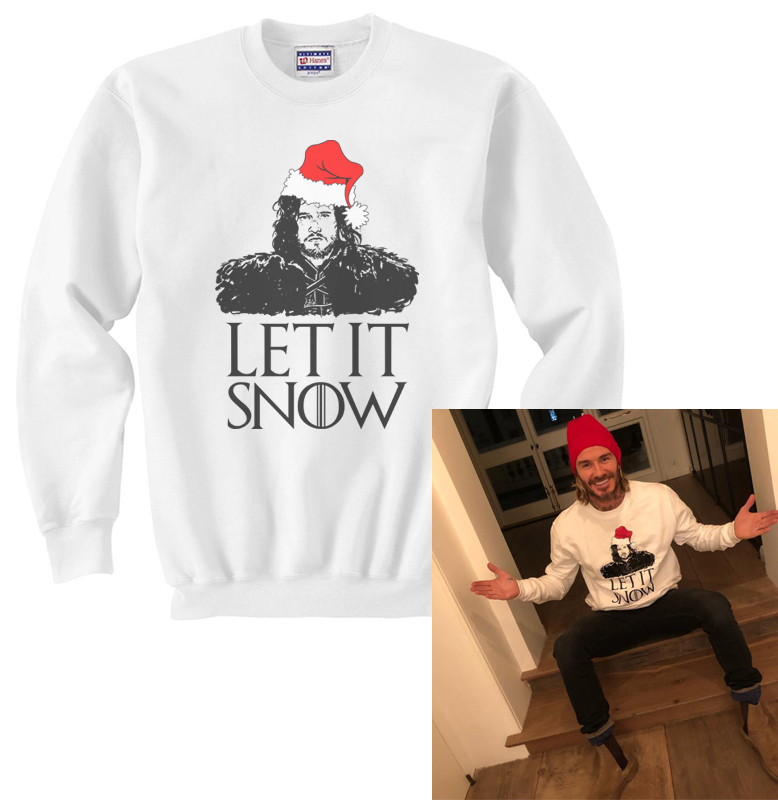 Let it Snow Jon Snow Game of Thrones Sweatshirt White sweater Jumper, used for sale  USA