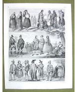 MEXICO & South America Natives Costume Puebla - SUPERB 1844 Antique Print - $14.85