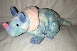 "Ty Pluffies Tromps Blue Tie Dye Triceratops Dinosaur 11"" Plush Tylux 2005 - $9.89"