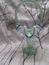 Fenton Glass 2000 Iridized Willow Green Opalescent Hp Trumpet Basket Signed - $125.00