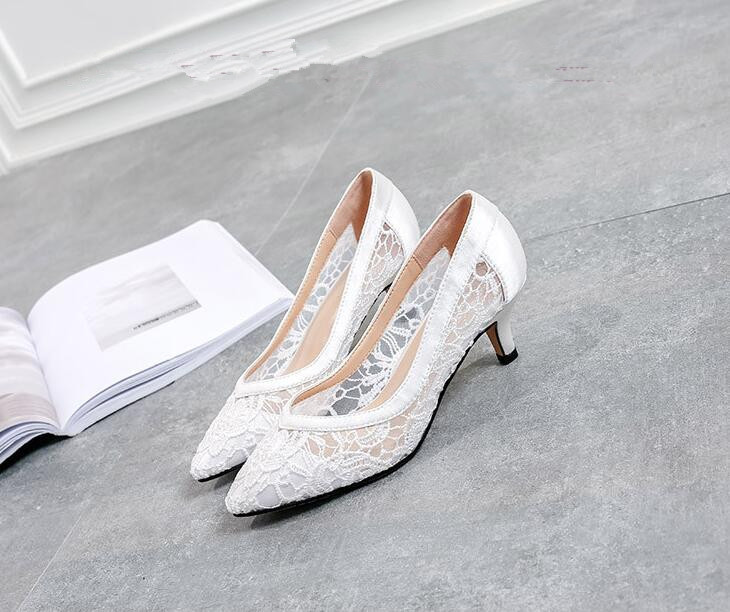 5cm Low Heels Shoes,Ivory Wedding low heels,White Lace Leather Bridal Heels