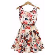 Sweet Floral Sleeveless Chiffon Spring Mini Dress - $12.25