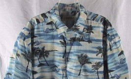 Men's Campia button front Hawaiian camp shirt XL beach palm trees drinks... - $9.89