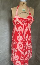 Anthropologie Summer Ikat Halter Dress 66170 Maeve Womens 4 Red Cotton Lined - $82.15