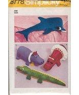 Simplicity 5778 Craft Sewing Pattern, Stuffed Animals, Mr. and Mrs. Hipp... - $17.64