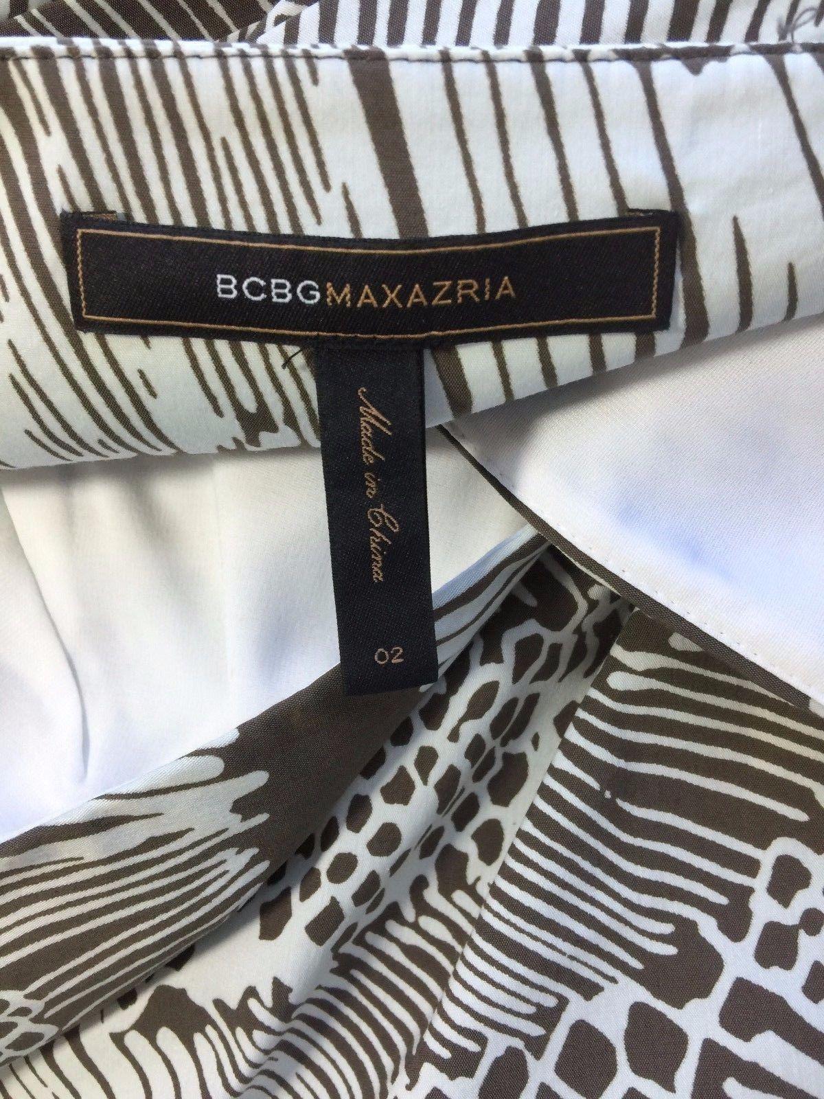 NEW BCBG Max Azria sz 2 Small Cocoa Brown Combo empire pleat pocket dress party