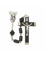 BLACK WOOD BEADS AND MADONNA & BABY CENTER ROSARY CRUCIFIX CROSS NECKLACE - $47.49