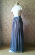 Gray Tulle Skirts for Bridesmaids Plus Size Full Long Wedding Tulle Skirt Outfit image 5