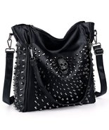 Women's Skull Studded Bling Leather Purse Cross Body Bag - £71.49 GBP
