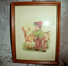 """VINTAGE 1940s Henry B Sandler Co BOY W/ DEER PRINT Framed # 68-14 7"""" X 9"""" - $84.96"""