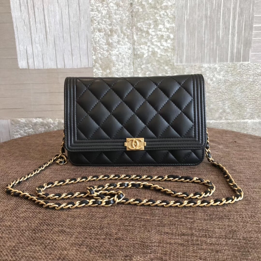 c9714103a23a32 100% AUTH CHANEL Boy WOC Quilted Lambskin Black Wallet on Chain Flap ...