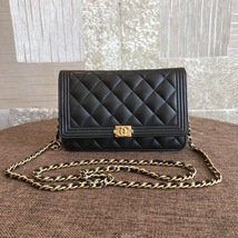 100% AUTH CHANEL Boy WOC Quilted Lambskin Black Wallet on Chain Flap Bag GHW