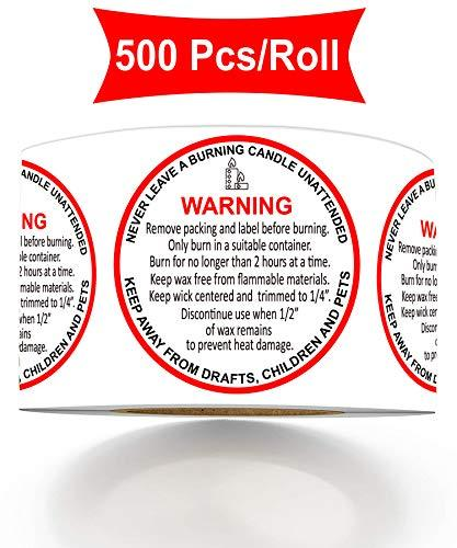 Candle Warning Stickers 1.57 Inches Candle Jar Container