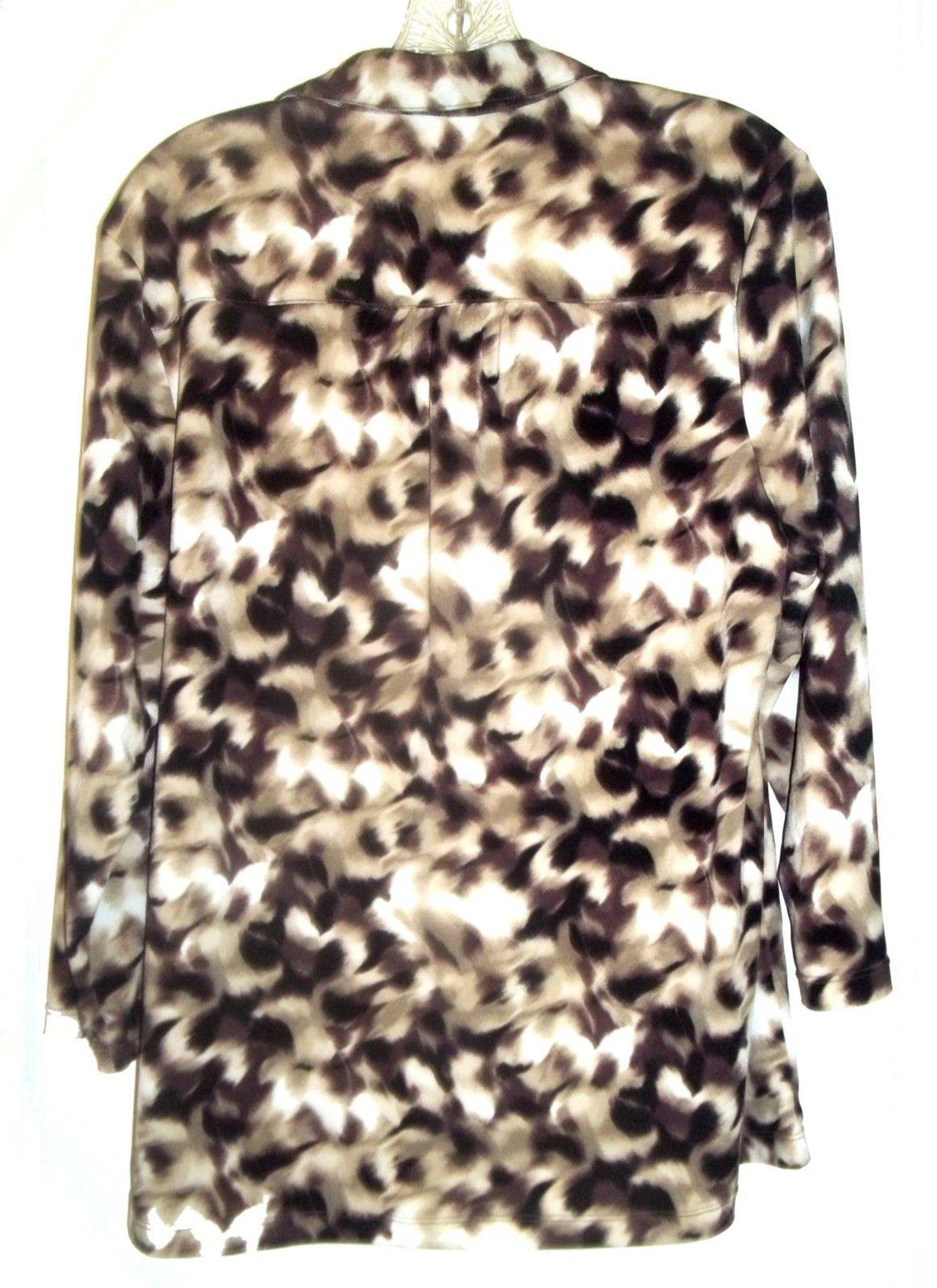 Alfani Black Brown Tan and White Mottled Print Top Polyester Blend Size XL