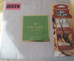 NEW Kate Spade QUEEN Bed Sheet Set 4pc NIP Gray Grey Larabee Dot Sheets ... - $74.20