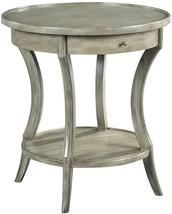 Side Table Woodbridge Gray Sahara Round Drawer Curved Legs - $1,349.00