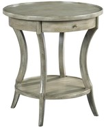 Side Table Woodbridge Gray Sahara Round Drawer Curved Legs - $1,349.00