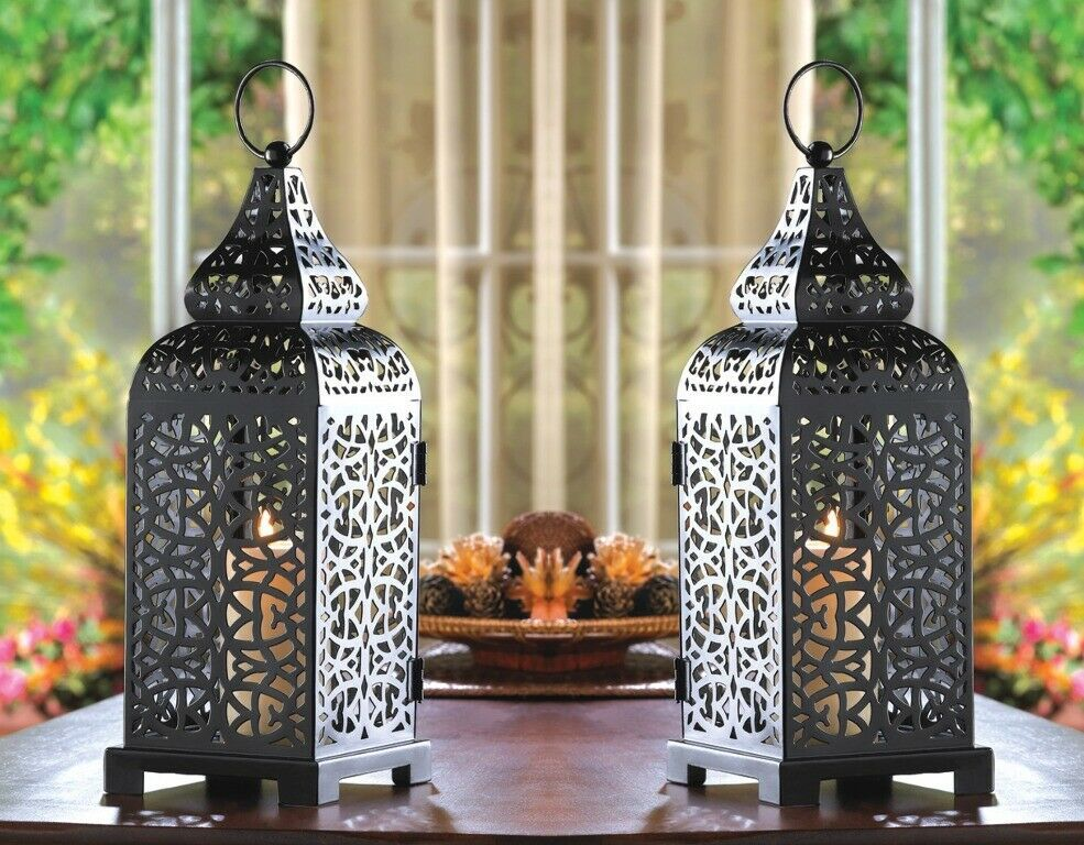 Primary image for 2 Tower Candle Lantern Matte Black Iron w/ Intricate Cutouts Moroccan Style