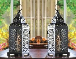 2 Tower Candle Lantern Matte Black Iron w/ Intricate Cutouts Moroccan Style - $29.65