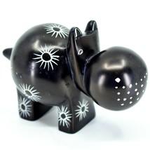 "Hand Carved Kisii Soapstone ""Midnight Milkweed"" Black Hippopotamus Hippo Figure"
