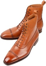 Handmade Men Tan ankle boots, Men tan color lace up ankle boot, Men leather boot - $179.99