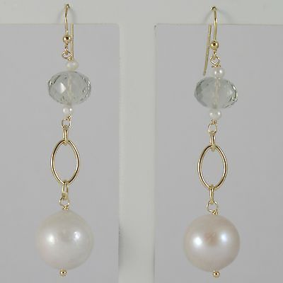 YELLOW GOLD EARRINGS 750 18K HANGING 6 CM, PRASIOLITE CUT CUSHION AND PEARLS