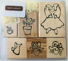 Garden Party 6 Rubber Stamps Hats Flowers Dress Close To My Heart S524 N... - $12.59