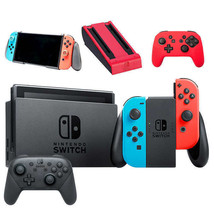 Nintendo Switch Bundle with Go Play GripStand, Pro Controller, Neon Red ... - $470.39