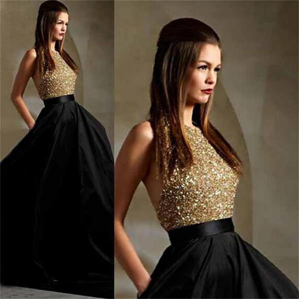 Long black party a line sparkle sequined pretty backless prom dresses  pd0023