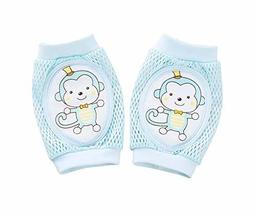 Cute Cartoon Crawling Baby Knee Pads Blue Monkey Pattern Toddler Knee Brace Prot