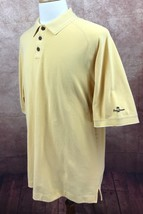 Tommy Bahama Polo Short Sleeve Yellow Mesh 100% Cotton Shirt Men's XL - $14.84