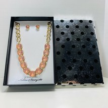Fashion Necklace and Earring Set Acrylic Peach Color - $14.95