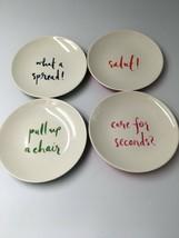 "Kate Spade Lemon Set of 4 Melamine Plates Salut! What A Spread! 6"" Tidbi... - $22.43"