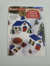 1997 Plastic Canvas Christmas Country Church Coasters + Holder Cross Stitch Kit - $19.99