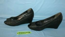 Cole Haan Peep Toe NikeAir Black Wedge Shoes Size Women's 8.5B - $29.69