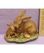 Vintage 1979 Homco porcelain Mom & Baby Rabbits Figure - $13.16