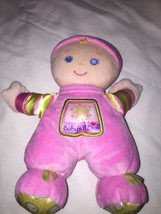 Fisher Price Pink Baby's 1st Doll Girl Rattle Stuffed Plush Toy Blond Cu... - $8.90