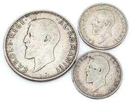 Romania Lot of 3 Silver Coins 1912 - 1914 2 Lei & 50 Bani F - XF Condition - $34.64