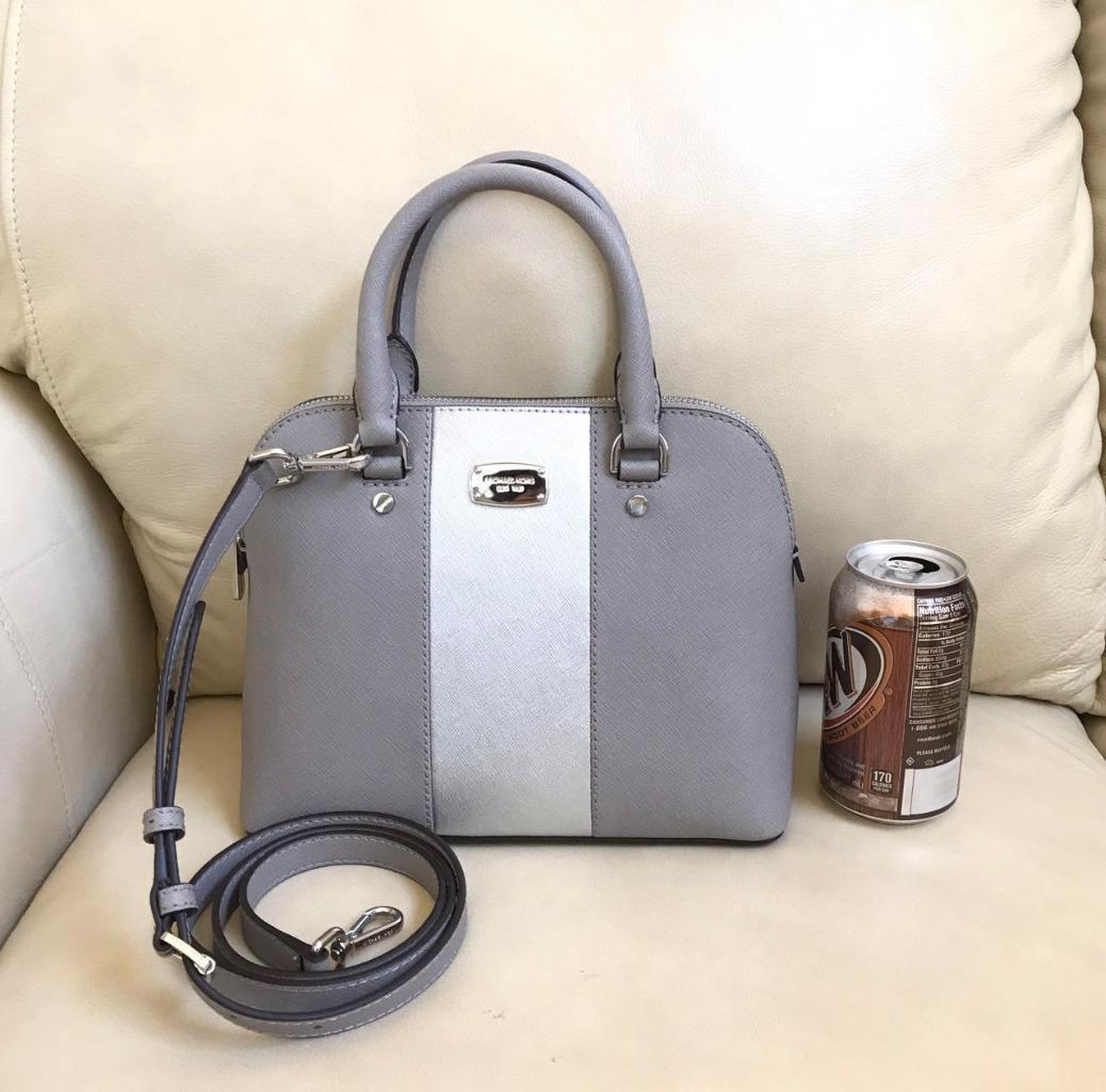 7a99de855a1ecf Michael kors grey cindy center stripe saffiano leather dome crossbody bag1