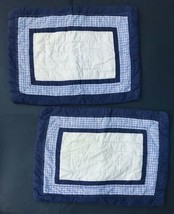 Pottery Barn Kids Blue Plaid Quilted Pillow Shams Checkered Pattern Boys Bedroom - $29.69