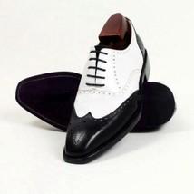 Handmade Men's Black & White Wing Tip Heart Medallion Leather Oxford Shoes image 3
