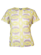 JM Collection Women's V-Neck Textured Printed Tee Sunlight Size Small  - $11.14