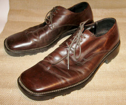 Kenneth Cole Dark Brown Men's Dress Leather Shoes Size 9 ½ Square Toe Ma... - $55.00