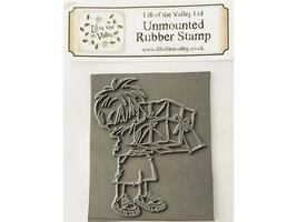 Lili of the Valley Unmounted Rubber Stamp Boy with Present