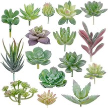 Augshy 16 Pack Artificial Succulent Flocking Plants Unpotted Mini Fake... - $22.37